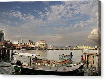 Boats At The Clan Jetty In Penang Canvas Print by Ivy Ho
