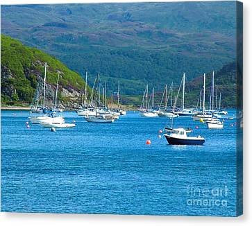 Boats At Tighnabruaich On The Clyde Canvas Print by Joan-Violet Stretch