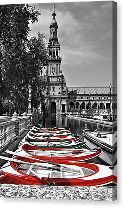 Boats By The Plaza De Espana Seville Canvas Print by Mary Machare