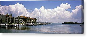 Boats Docked In A Bay, Cabbage Key Canvas Print