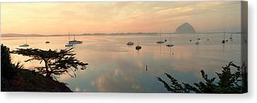 Boats In A Bay With Morro Rock Canvas Print