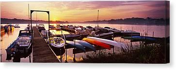 Boats In A Lake At Sunset, Lake Canvas Print
