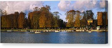 Boats In A Lake, Chateau De Versailles Canvas Print by Panoramic Images