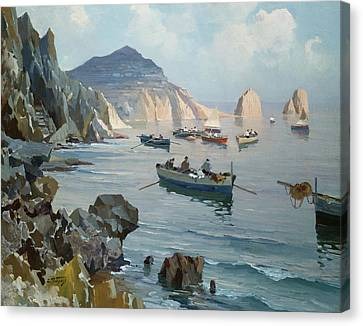 Boats In A Rocky Cove  Canvas Print by Edward Henry Potthast