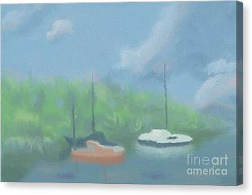 Boats In Cove Canvas Print by Arlene Babad