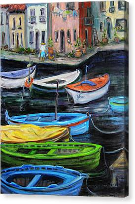 Canvas Print featuring the painting Boats In Front Of The Buildings II by Xueling Zou