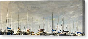 Canvas Print featuring the photograph Boats In Harbor Reflection by Peter v Quenter