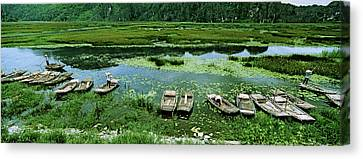 Boats In Hoang Long River, Kenh Ga Canvas Print by Panoramic Images