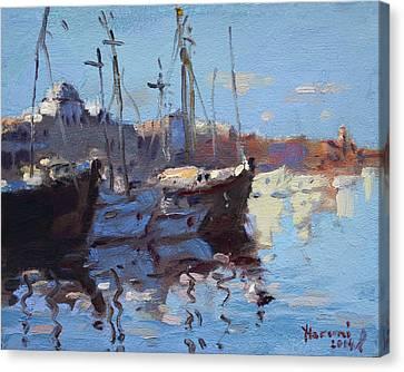 Boats In Mandraki Rhodes Greece  Canvas Print by Ylli Haruni