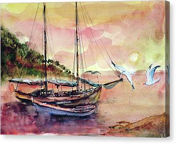 Canvas Print featuring the painting Boats In Sunset  by Faruk Koksal