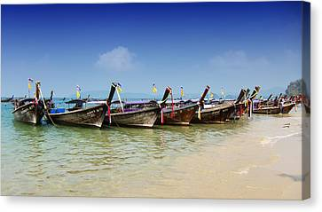Canvas Print featuring the photograph Boats In Thailand by Zoe Ferrie