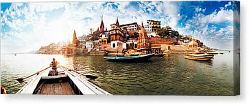 Boats In The Ganges River, Varanasi Canvas Print by Panoramic Images