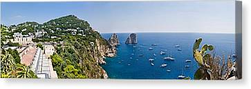 Boats In The Sea, Faraglioni, Capri Canvas Print by Panoramic Images