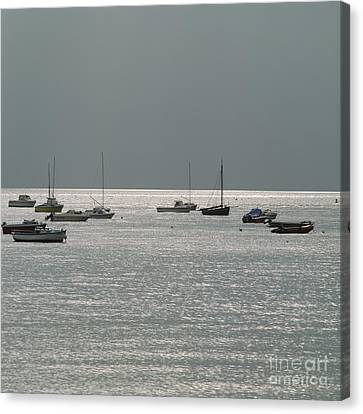 Boats In The Sea. Normandy. France. Europe Canvas Print by Bernard Jaubert