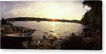 Boats In The Sea, Oregon, Usa Canvas Print by Panoramic Images