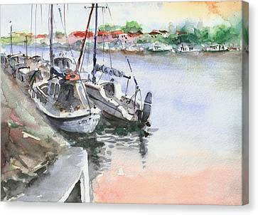 Canvas Print featuring the painting Boats Inshore by Faruk Koksal