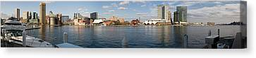 Boats Moored At A Harbor, Inner Harbor Canvas Print