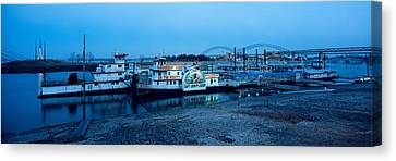 Boats Moored At A Harbor, Memphis Canvas Print by Panoramic Images