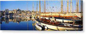 Boats Moored At A Harbor, Vieux Port Canvas Print by Panoramic Images