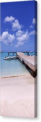 Inflatable Canvas Print - Boats Moored At A Pier, Sandy Ground by Panoramic Images