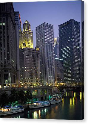 Boats Moored At The Riverside, Chicago Canvas Print by Panoramic Images