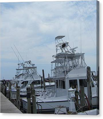 Boats Of Oregon Inlet Canvas Print by Cathy Lindsey