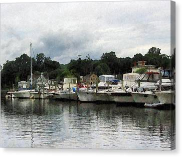 Canvas Print featuring the photograph Boats On A Cloudy Day Essex Ct by Susan Savad