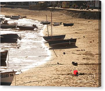 Boats On Beach 02 Canvas Print by Pixel  Chimp