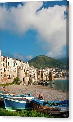 Boats On Beach, Cefalu, N Coast, Sicily Canvas Print