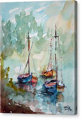 Canvas Print featuring the painting Boats On Lake  by Faruk Koksal