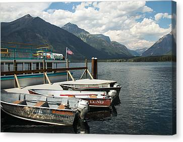 Boats On Lake Mcdonald Canvas Print by Nina Prommer