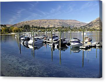 Boats On Lake Wanaka Canvas Print by Venetia Featherstone-Witty