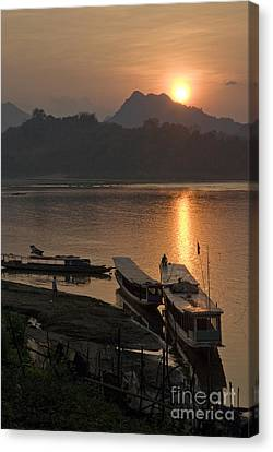 Boats On River By Luang Prabang Laos  Canvas Print