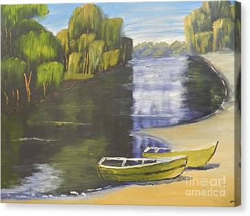 Boats On St Georges River Canvas Print by Pamela  Meredith