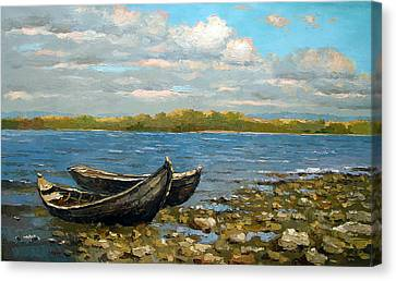 Canvas Print featuring the painting Boats On The River by Dmitry Spiros