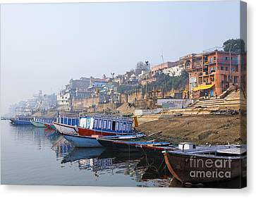 Ganges Canvas Print - Boats On The River Ganges Varanasi by Robert Preston
