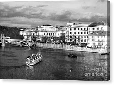 Boats On The Vltava Canvas Print by John Rizzuto