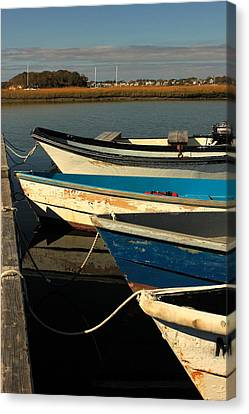 Canvas Print featuring the photograph Boats Waiting by Amazing Jules