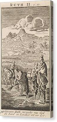 Boaz And Ruth, Jan Luyken, Anonymous Canvas Print by Jan Luyken And Anonymous