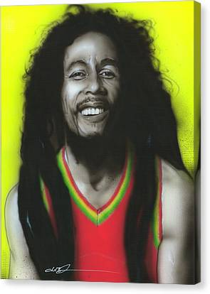 Bob Marley - ' Bob ' Canvas Print by Christian Chapman Art