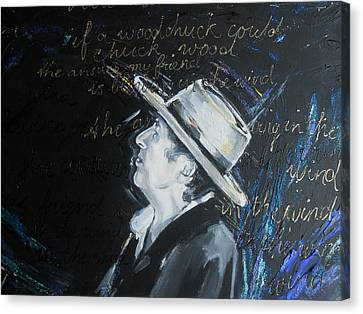 Bob Dylan - Blowing In The Wind Canvas Print by Lucia Hoogervorst