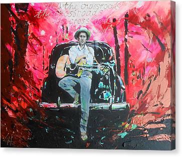 Bob Dylan - Crossroads Canvas Print by Lucia Hoogervorst