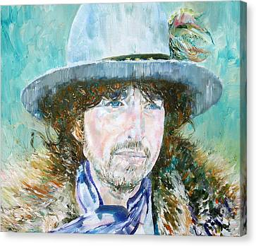 Bob Dylan Oil Portrait Canvas Print by Fabrizio Cassetta
