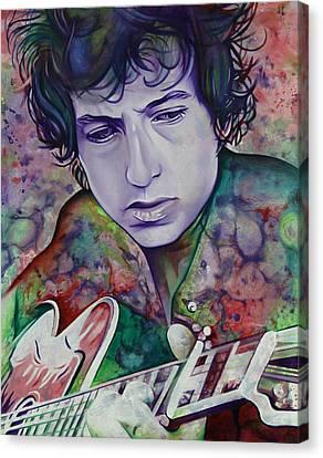 Bob Dylan-pink And Green Canvas Print by Joshua Morton