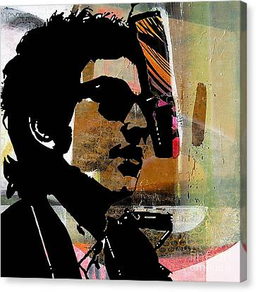 Bob Dylan Canvas Print - Bob Dylan Recording Session by Marvin Blaine