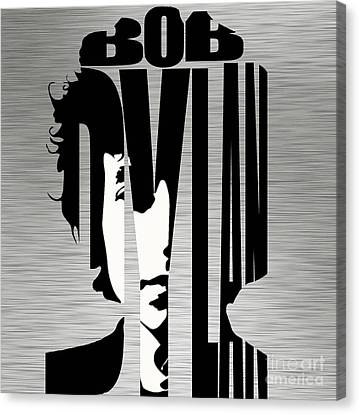 Bob Dylan Silver Canvas Print by Marvin Blaine