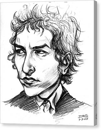 Bob Dylan Sketch Portrait Canvas Print by John Ashton Golden