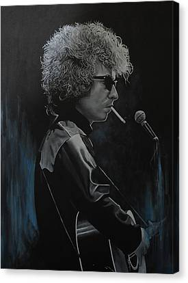 Bob Dylan 'tangled Up In Blue' Canvas Print by David Dunne
