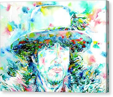 Bob Dylan - Watercolor Portrait.2 Canvas Print by Fabrizio Cassetta