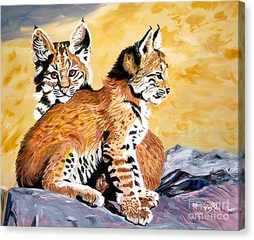 Canvas Print featuring the painting Bob Kittens by Phyllis Kaltenbach